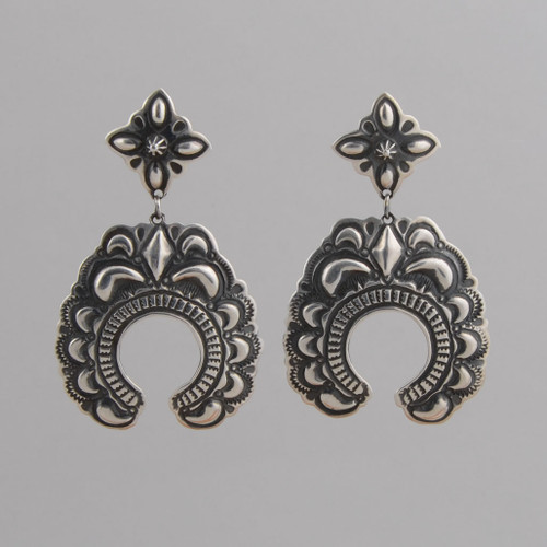 Sterling Silver Dangle Earrings with Stamp and Repousse Work.  w/ Post