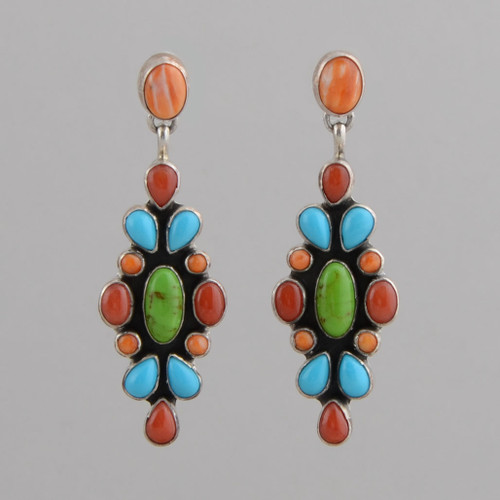 Sterling Silver Earrings set w/ Orange Spiny Oyster Shell, Red Coral, Turquoise, Gaspeite, Dangle w/ Post.