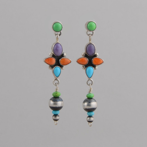 Sterling Silver Earrings, Set in, Gaspeite, Charoite, Orange Spiny Oyster Shell, Turquoise, Dangle w/ Post.