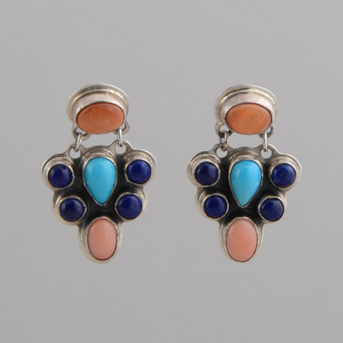 Sterling Silver Earrings, w/ Orange Spiny Oyster Shell, Turquoise, Lapis Lazuli, Pink Coral, Dangle w/ Post.