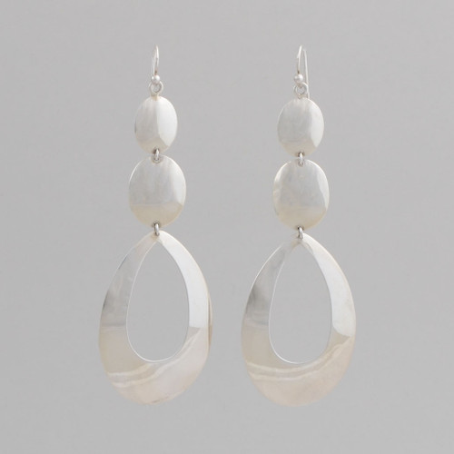 Sterling Sliver Dangle Earrings, with Graduated Ovals, w/ Wire