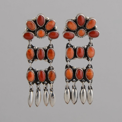 Sterling Silver Earrings w/Red Coral, Orange Spiny Oyster Shell, Dangles, Navajo Made - No Hallmark, w/ Post.