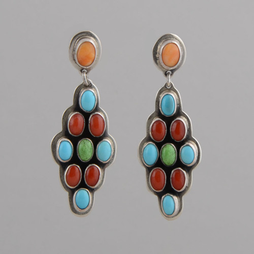 Sterling Silver Earrings w/ Orange Spiny Oyster Shell, Turquoise, Red Coral, Gaspeite, Dangle w/ Post.