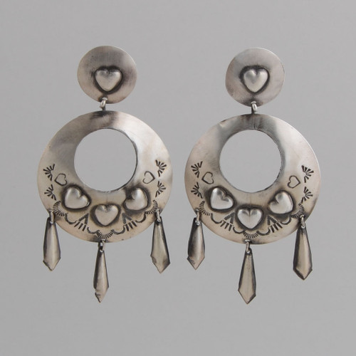 Sterling Silver Circle Earrings with Dangles, Stamp and Repousse Work, Oxidized, for an Older Look, w/Post.