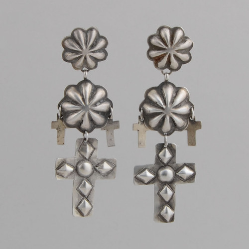 Sterling Silver Dangle Earrings with Repousse Crosses and Rosettes, w/ Post.