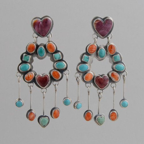 Sterling Silver Earrings, w/Purple and Orange Spiny Oyster Shell, Turquoise, Dangles w/ Heart Shape w/ Post.
