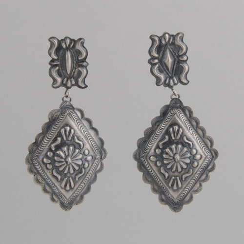 Sterling Silver Diamond Shaped Earrings with Small Rectangle Top, Oxidized for an Older Look, w/ Post