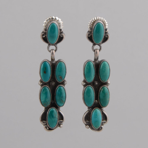 Sterling Silver Earrings w/ Six Turquoise Stones w/ Post.