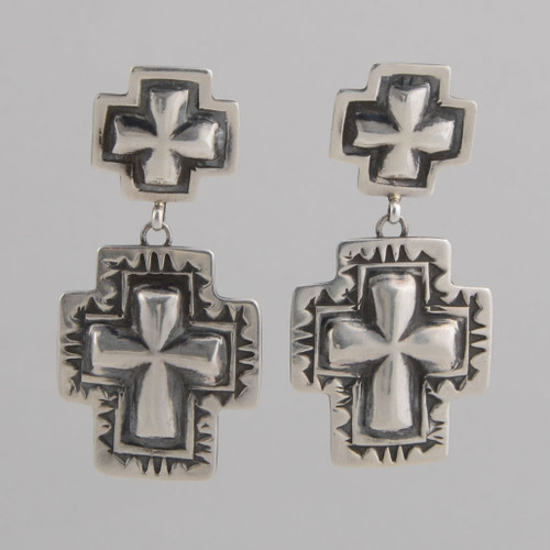Sterling Silver Earrings with Repousse Crosses and Directional Symbols