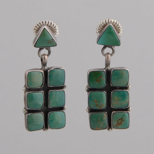 Sterling Silver Earrings w/ Turquoise Six Stone Tile Design, Triangle Shape w/ Post by Wilbur