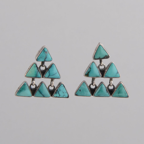 Sterling Silver Earrings w/ Turquoise, Six Triangle Shape Stones w/ Posts.