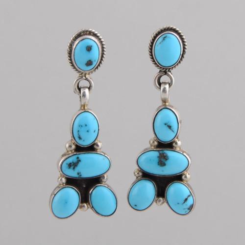 Sterling Silver Earrings w/ Persian Turquoise, Five Stone Dangle w/ Post.
