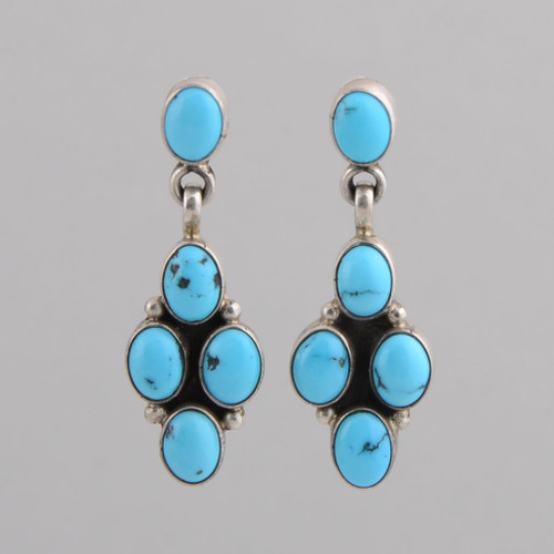 Sterling silver Earrings w/ Persian Turquoise, Five Stones w/ Post.