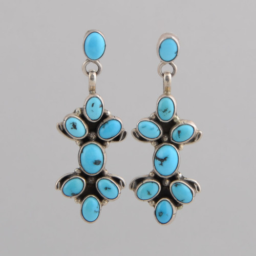 Sterling Silver Earrings w/ Persian Turquoise, Eight Stone Dangle w/ Posts.