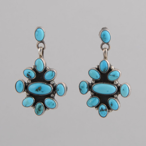 Sterling Silver Earrings w/ Persian Turquoise, Ten Stone Dangle w/ Post.