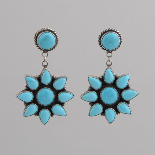 Sterling silver Earrings w/ Sleeping Beauty Turquoise, Blossom Design w/ Post.