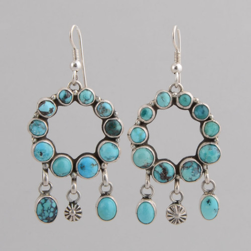 Hoop Kingman Turquoise Earrings by Annie Hoskie