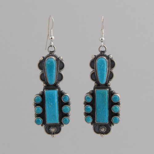 Sterling Silver Earrings w/ Turquoise, Eight Stone Dangle Earrings w/ Wire