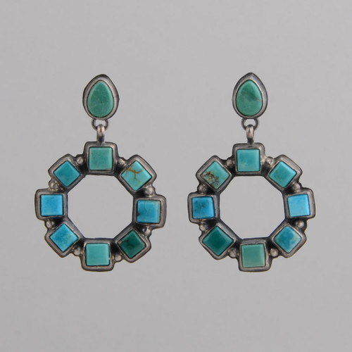 Sterling Silver Hoop Tile Earrings with Kingman Turquoise /w Post.