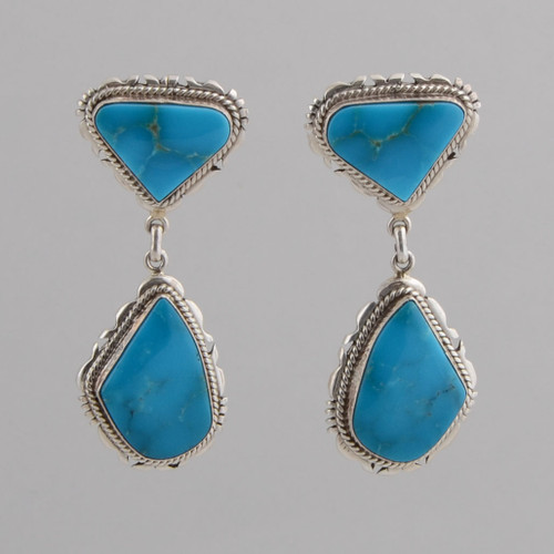 Sterling Silver Earrings w/ Turquoise, Two Stone Dangle w/ Post.
