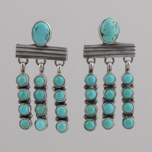 Sterling Silver Earrings /w Kingman Turquoise, Oval Top, Dangles /w post.
