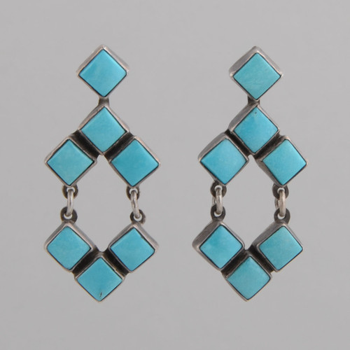 Sterling Silver Earrings with Turquoise  Diamond Shaped Tiles, w/ Post.