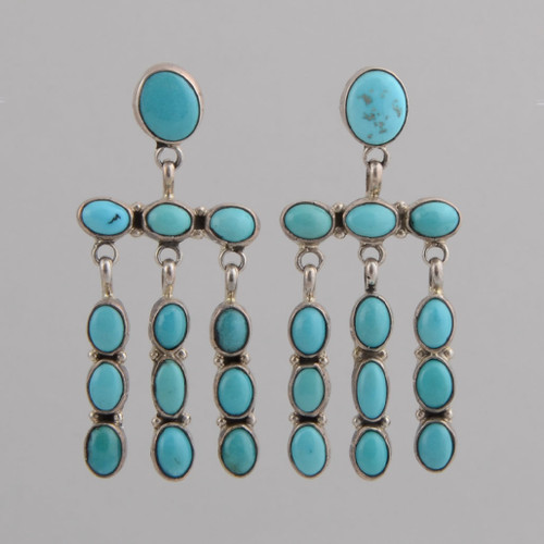 Sterling Silver /w Kingman Turquoise Earrings /w Oval Top and Dangles /w Post.