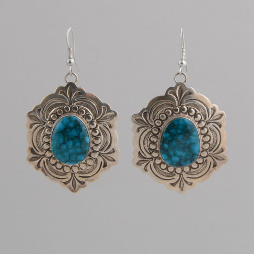 Sterling Silver Earrings w/ Birds Eye Kingman Turquoise w/ Wire.