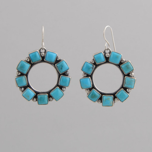 Sterling Silver Circle Earrings with Blue Turquoise Tiles. w/ Wire.