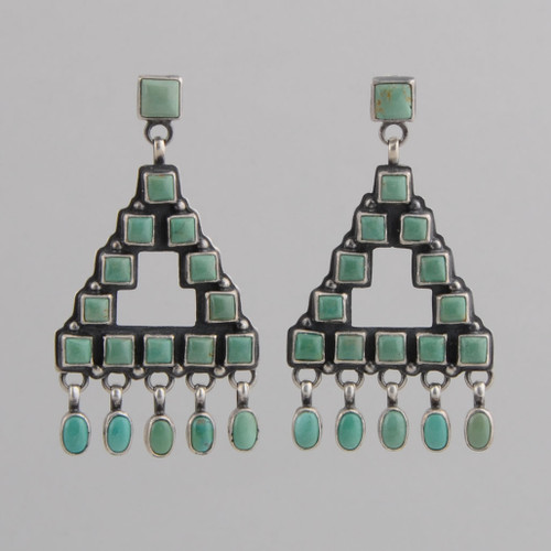 Sterling Silver Earrings w/ Turquoise Triangle Design w/ Dangles, w/ Post.