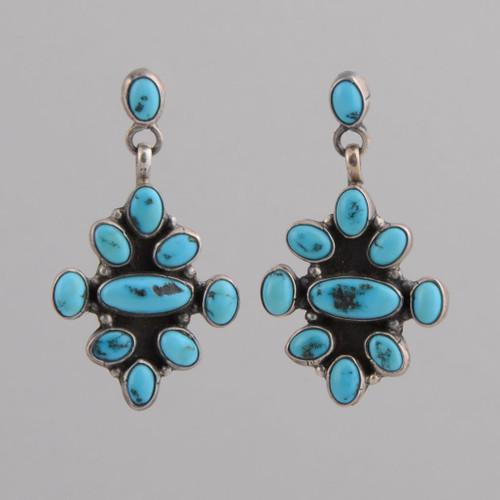Sterling Silver Earrings with Persian Turquoise, w/Post.