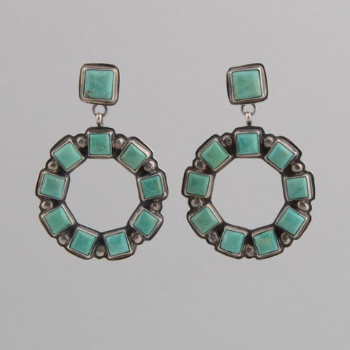 Sterling Silver Earrings w/ Square Shape Turquoise, Round Dangle w/post.