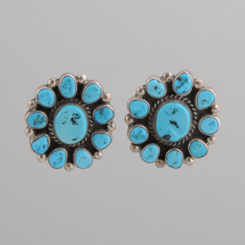 Sterling Silver Earrings w/ Turquoise Blossom Design w/ Post.