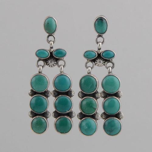 Sterling Silver Earrings w/ Turquoise, Nine Stone Dangle w/ Post.