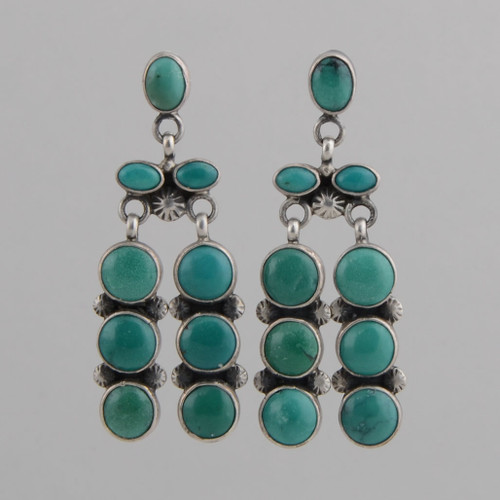 Sterling Silver Earrings w/ Turquoise, Nine Stone Dangle w/ Post.