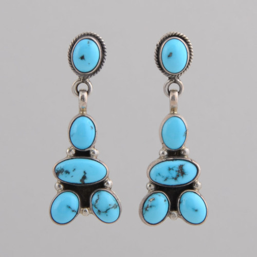 Sterling Silver earrings with Persian Turquoise, w/ Post.