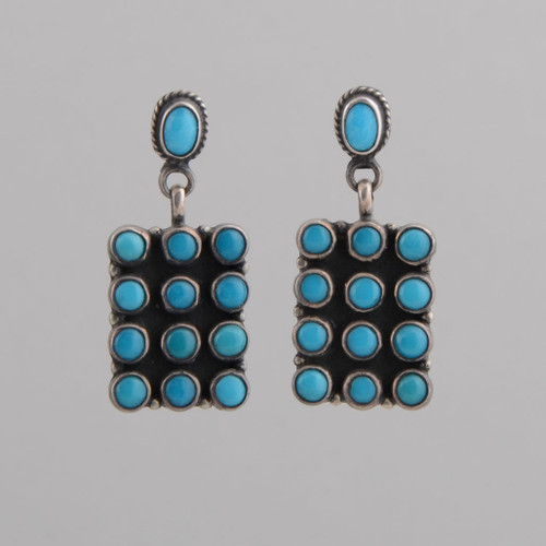Sterling Silver Earrings w/ Turquoise Tile Design w/ Post.