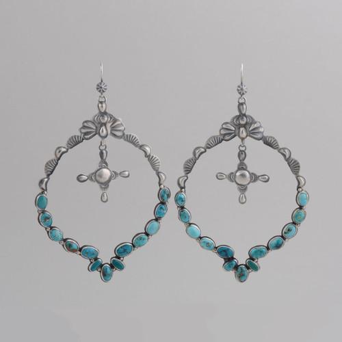 Sterling Silver Hoop Earrings  with Kingman Turquoise, Silver Cross /w Wire.