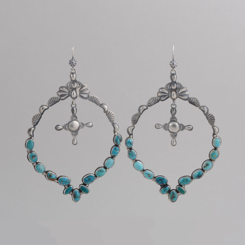 Sterling Silver Hoop Earrings  with Kingman Turquoise, Silver Cross /w Wire.