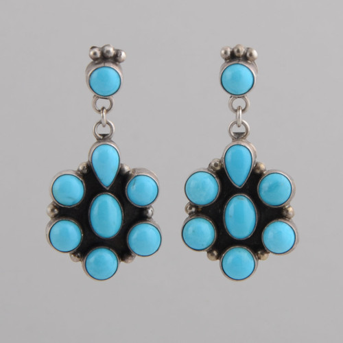 Sterling Silver Earrings w/ Sleeping Beauty Turquoise, Blossom Design w/ Post, Navajo Made-No Hallmark.
