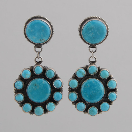 Sterling Silver Earrings with Round Turquoise Stones w/Post.