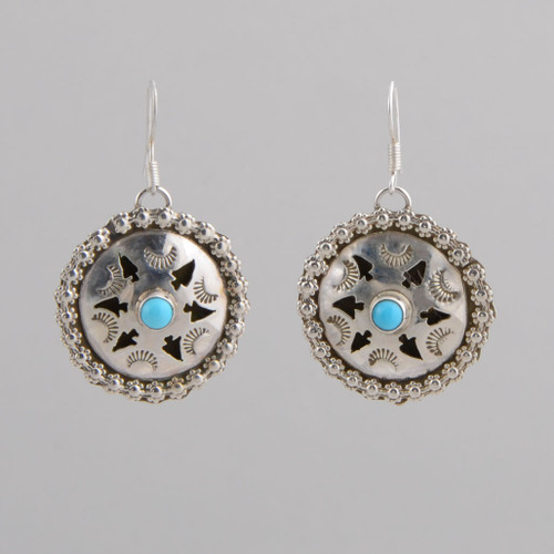 Sterling Silver Earrings w/ Turquoise, Concho Style w/ Wire.