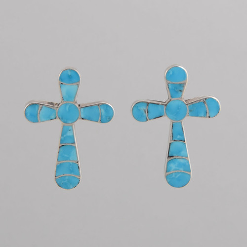 Sterling Silver Zuni Cross Earrings, Inlaid with Turquoise, w/ Post.