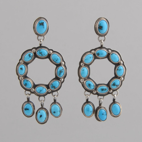 Sterling Silver Earrings with Persian Turquoise.  Circles with Dangles, w/ Post.
