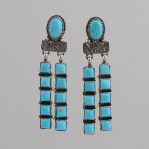 Sterling Silver Earrings with Two Rows of Turquoise Tiles and Oval Stones Above Detailed Stamp Work, w/ Post.