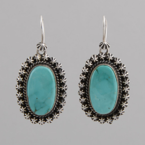 Turquoise Oval Earrings by A. Piasso