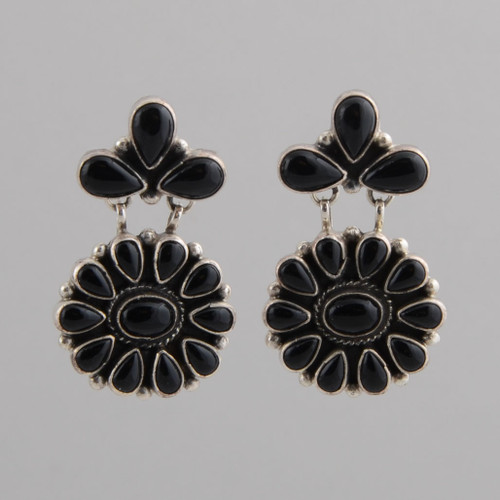 Sterling Silver Earrings with Teardrop and Oval Shaped Black Onyx Stones.  w/ Post.