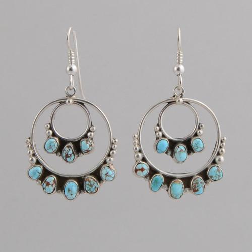 Sterling Silver Hoop Earrings /w #8 Turquoise /w Wire.