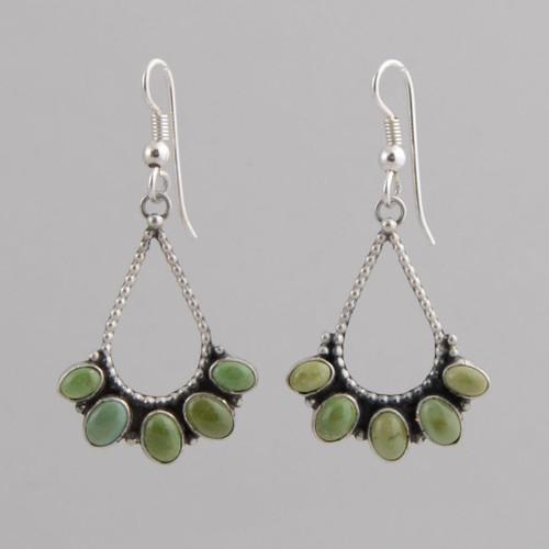 Sterling Silver Earrings /w Nevada Turquoise,  Tear Drop Shape /w Silver Beads, /w Wire.