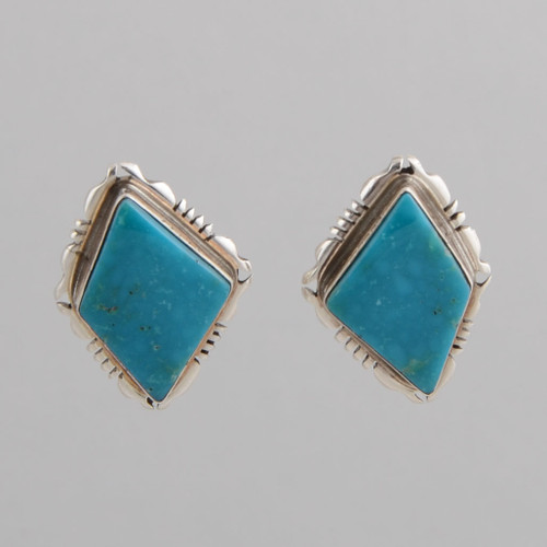 Sterling Silver Earring with Turquoise, w/ Clip.